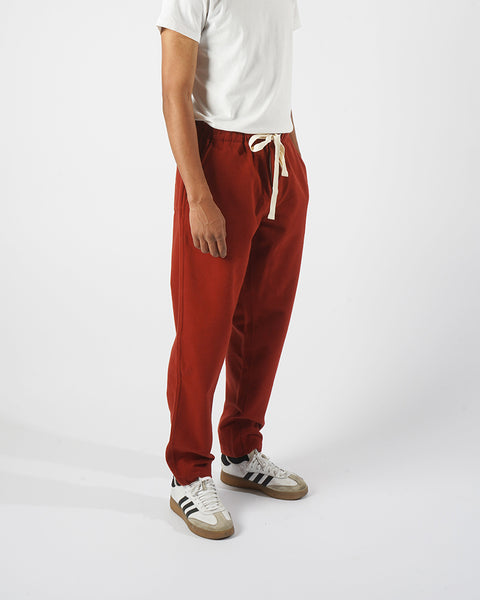 flannel trousers bordeaux red model side