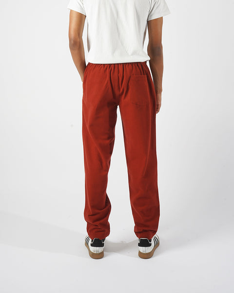 flannel trousers bordeaux red model back