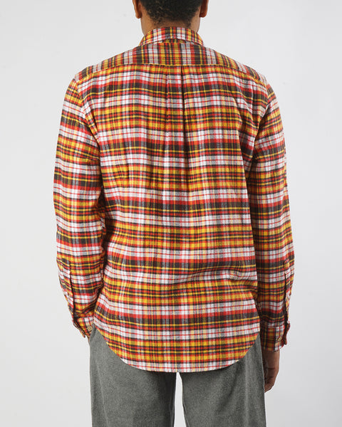 flannel shirt plaid yellow orange model back