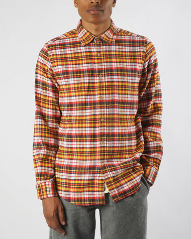 flannel shirt plaid yellow orange model front