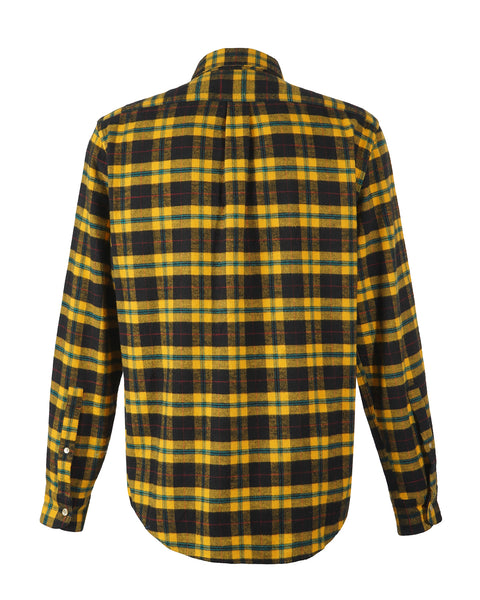 flannel shirt, black and yellow, product back