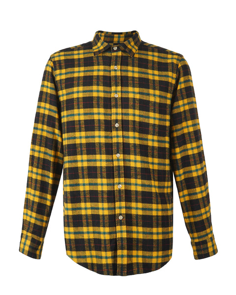 flannel shirt, plaid black and yellow, product front