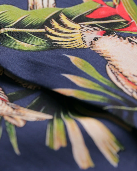 tropical printed short sleeve shirt detail fabric