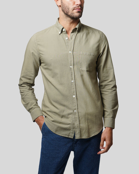 olive long sleeve oxford shirt model front