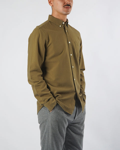 long sleeve shirt olive model side
