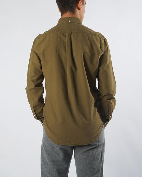 long sleeve shirt olive model back