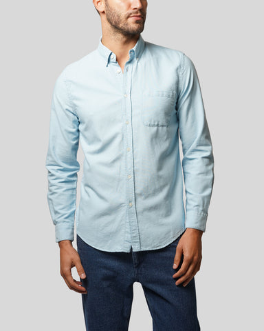 sky long sleeve oxford shirt model front