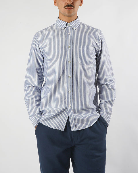 long sleeve shirt striped blue white model front