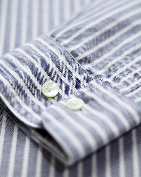 long sleeve shirt striped blue white detail button