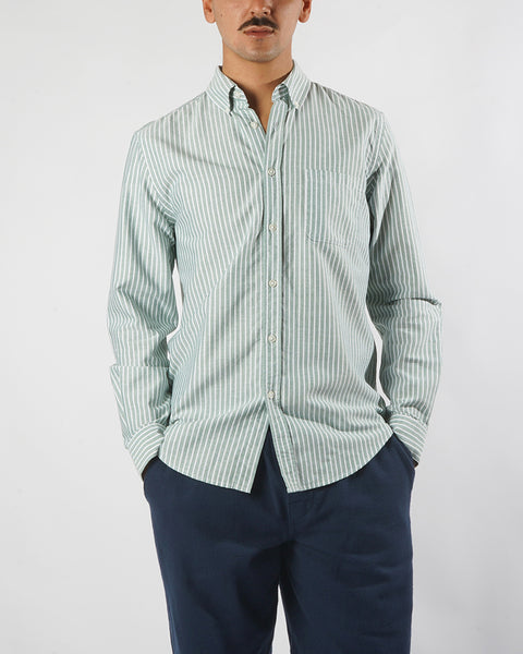 long sleeve shirt striped green white model front