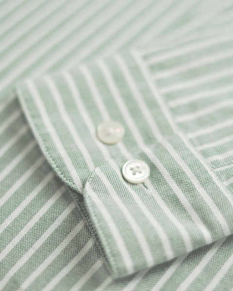long sleeve shirt striped green white detail button