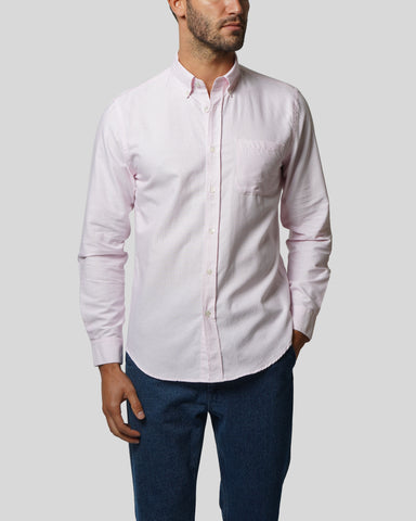 pink striped long sleeve shirt oxford model front