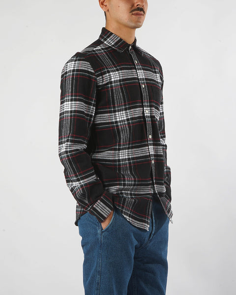 flannel shirt plaid black white red model side