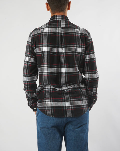 flannel shirt plaid black white red model back