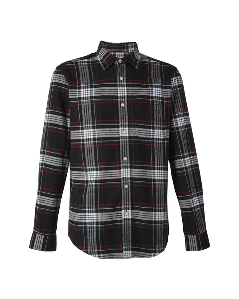 flannel shirt plaid black white red product front