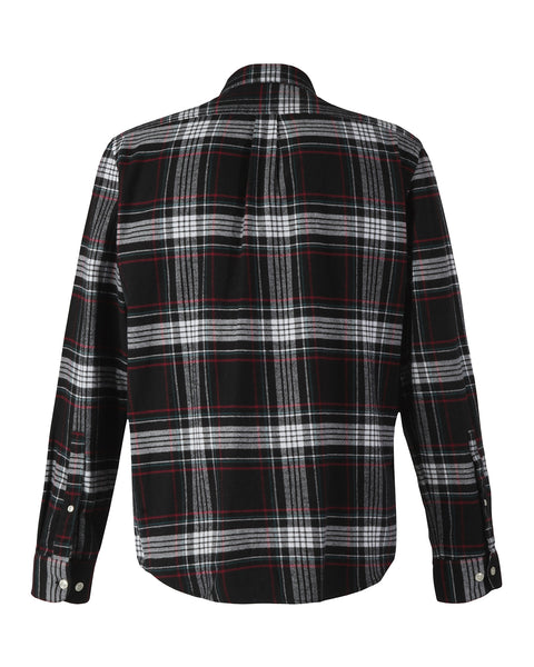 flannel shirt plaid black white red product back