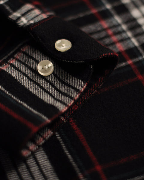 flannel shirt plaid black white red detail buttons
