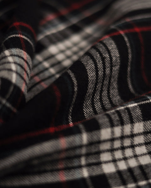 flannel shirt plaid black white red detail fabric