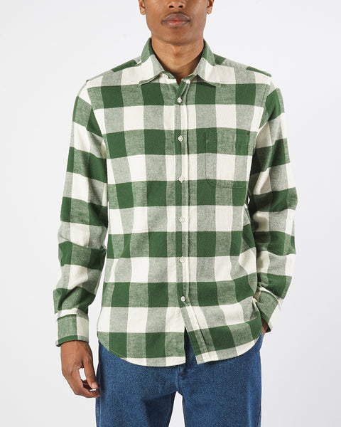 flannel gingham green white shirt model front