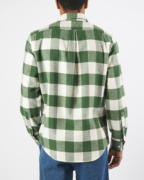 flannel gingham green white shirt model back