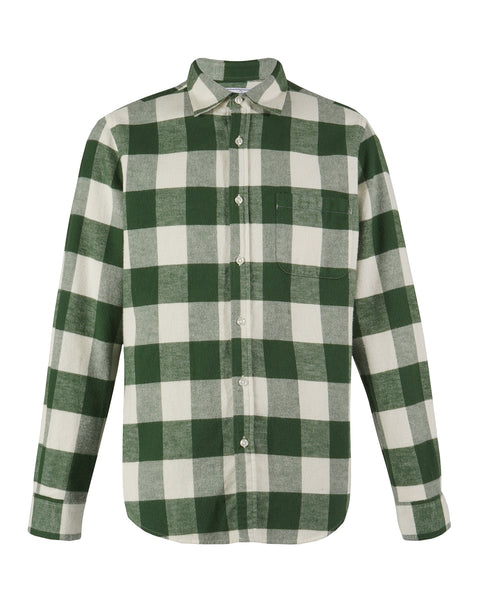 flannel gingham green white shirt PRODUCT front