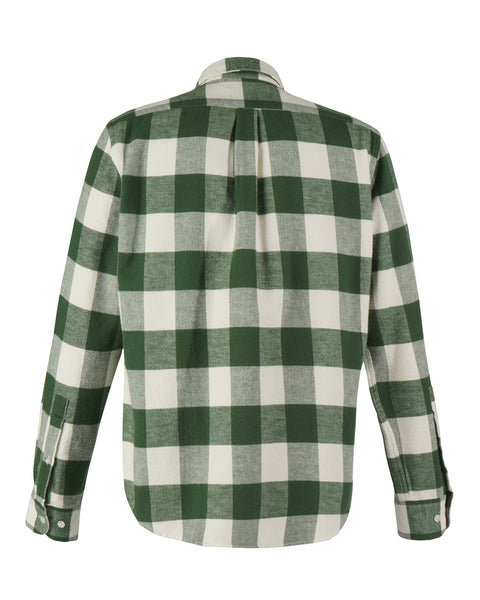 flannel gingham green white shirt product back