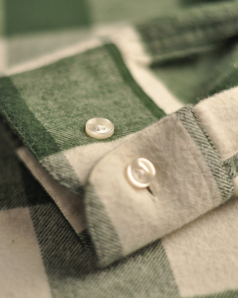 flannel gingham green white shirt detail button