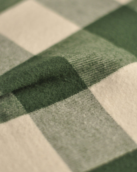 flannel gingham green white shirt detail fabric