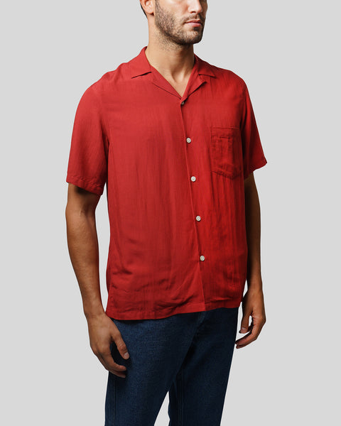 red short sleeve shirt model side
