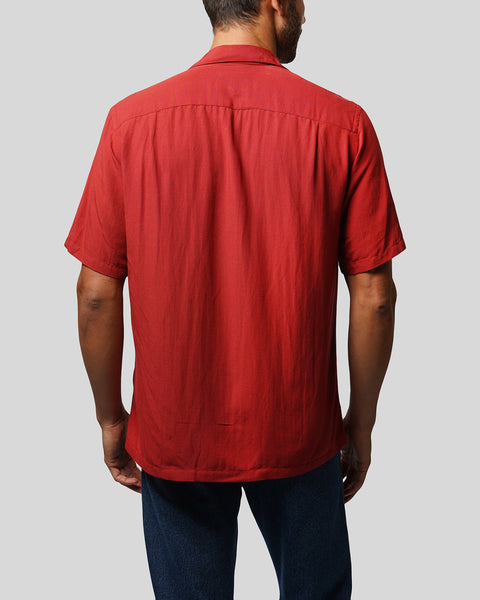 red short sleeve shirt model back
