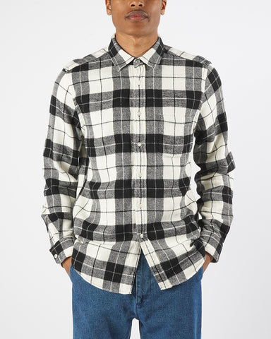flannel shirt plaid black white model front