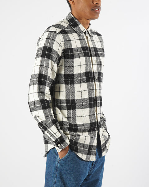flannel shirt plaid black white model side