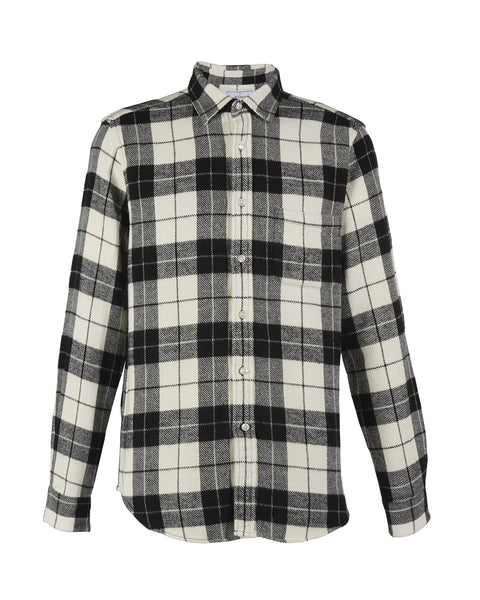 flannel shirt plaid black white product front
