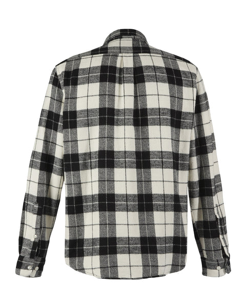 flannel shirt plaid black white product back