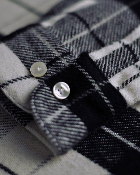 flannel shirt plaid black white detail buttons