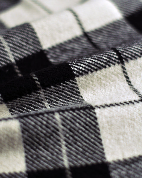 flannel shirt plaid black white detail fabric