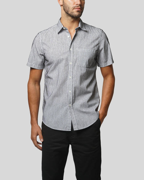 striped black and white short sleeve shirt model front