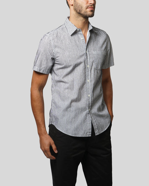 striped black and white short sleeve shirt model side