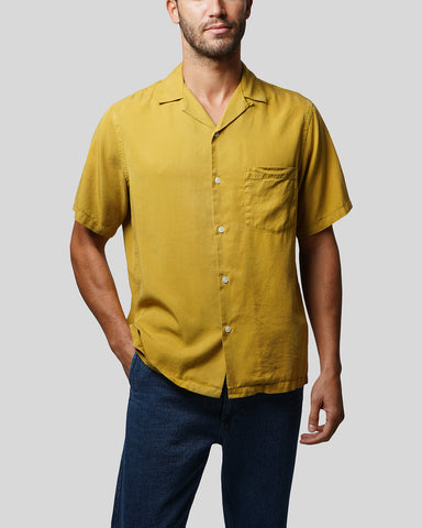 mustard short sleeve shirt model front