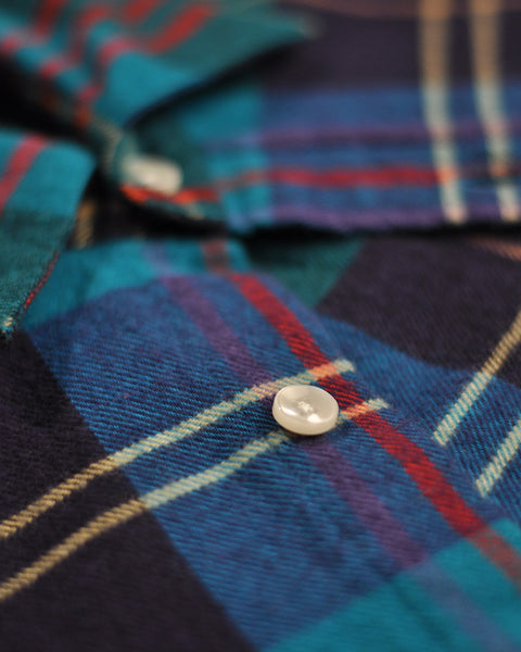 flannel shirt plaid blue red detail button