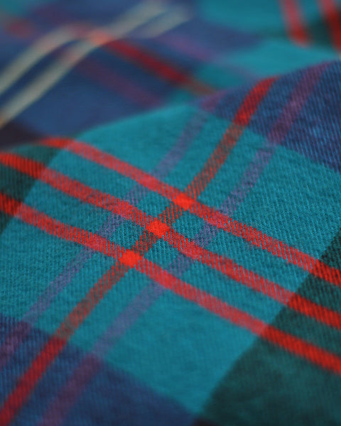 flannel shirt plaid blue red detail fabric