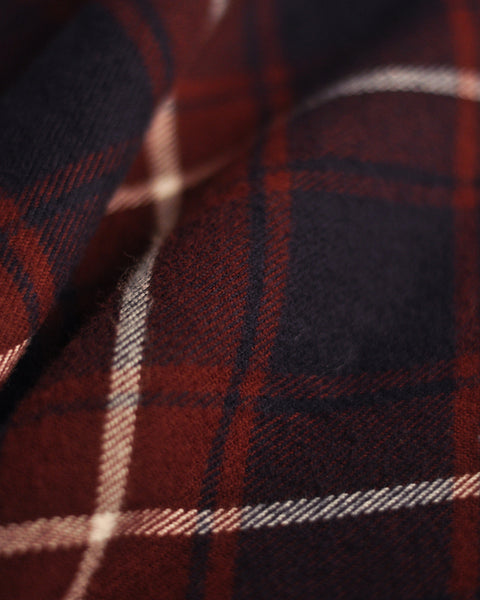 flannel pajama shirt plaid blue bordeaux detail fabric