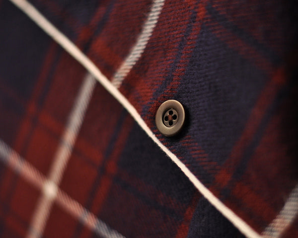 flannel pajama shirt plaid blue bordeaux detail button
