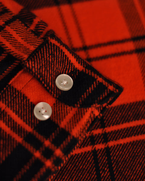 flannel shirt plaid red detail button