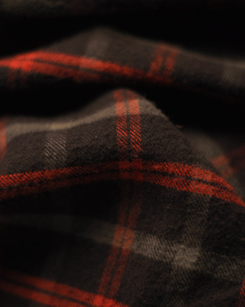 flannel shirt plaid brown red detail fabric