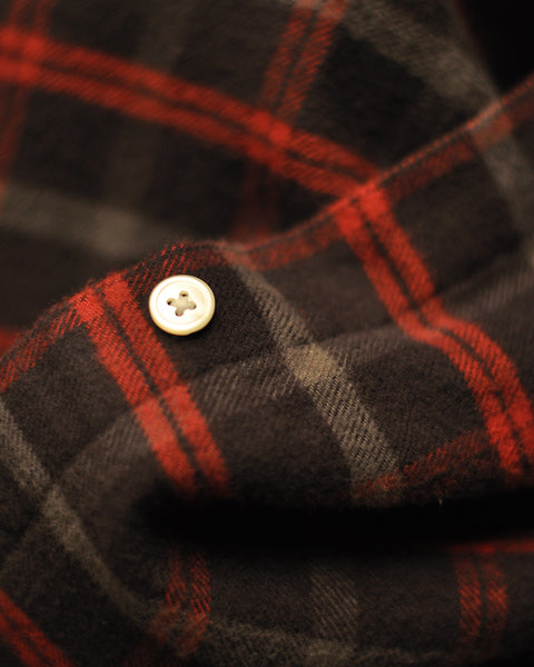 flannel shirt plaid brown red detail button