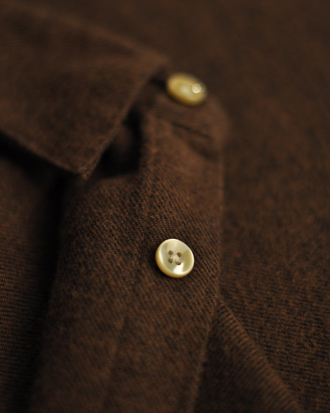 flannel shirt brown detail button