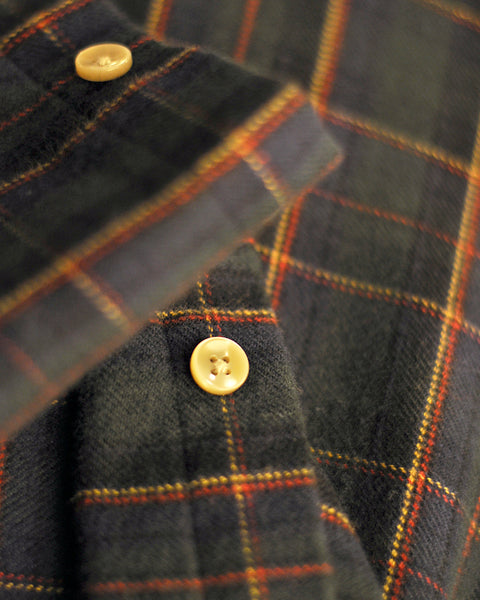 flannel shirt plaid green yellow detail button