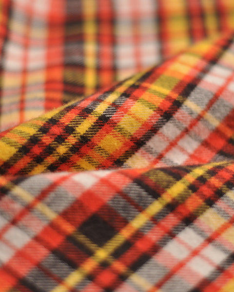 flannel shirt plaid yellow orange detail fabric