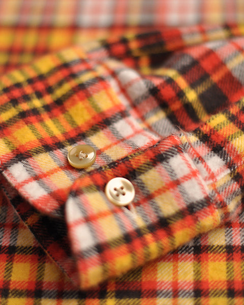flannel shirt plaid yellow orange detail buttons